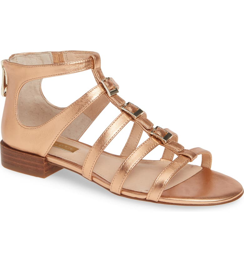 LOUISE ET CIE Arely Strappy Sandal, Main, color, CAMPARI METALLIC LEATHER