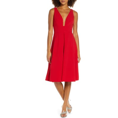 Harlyn Pleat Fit & Flare Dress, Red