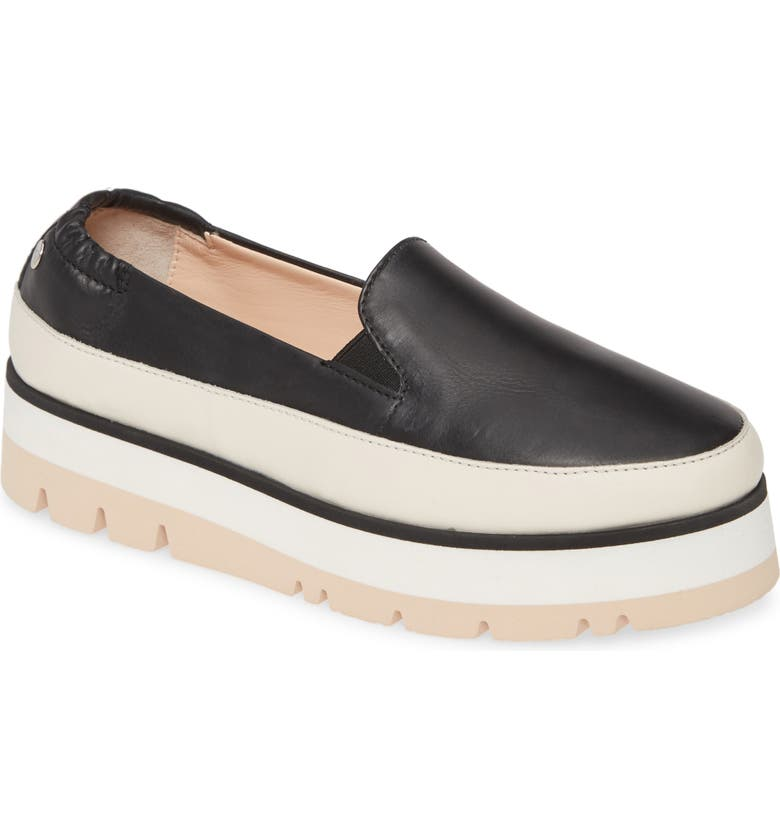 AGL Platform Slip-On Sneaker, Main, color, BLACK LEATHER