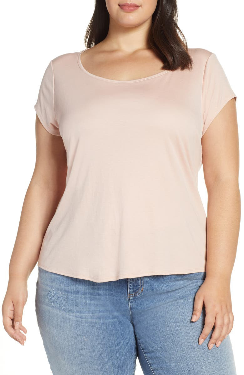 EILEEN FISHER Scoop Neck Cap Sleeve Tee, Main, color, 686