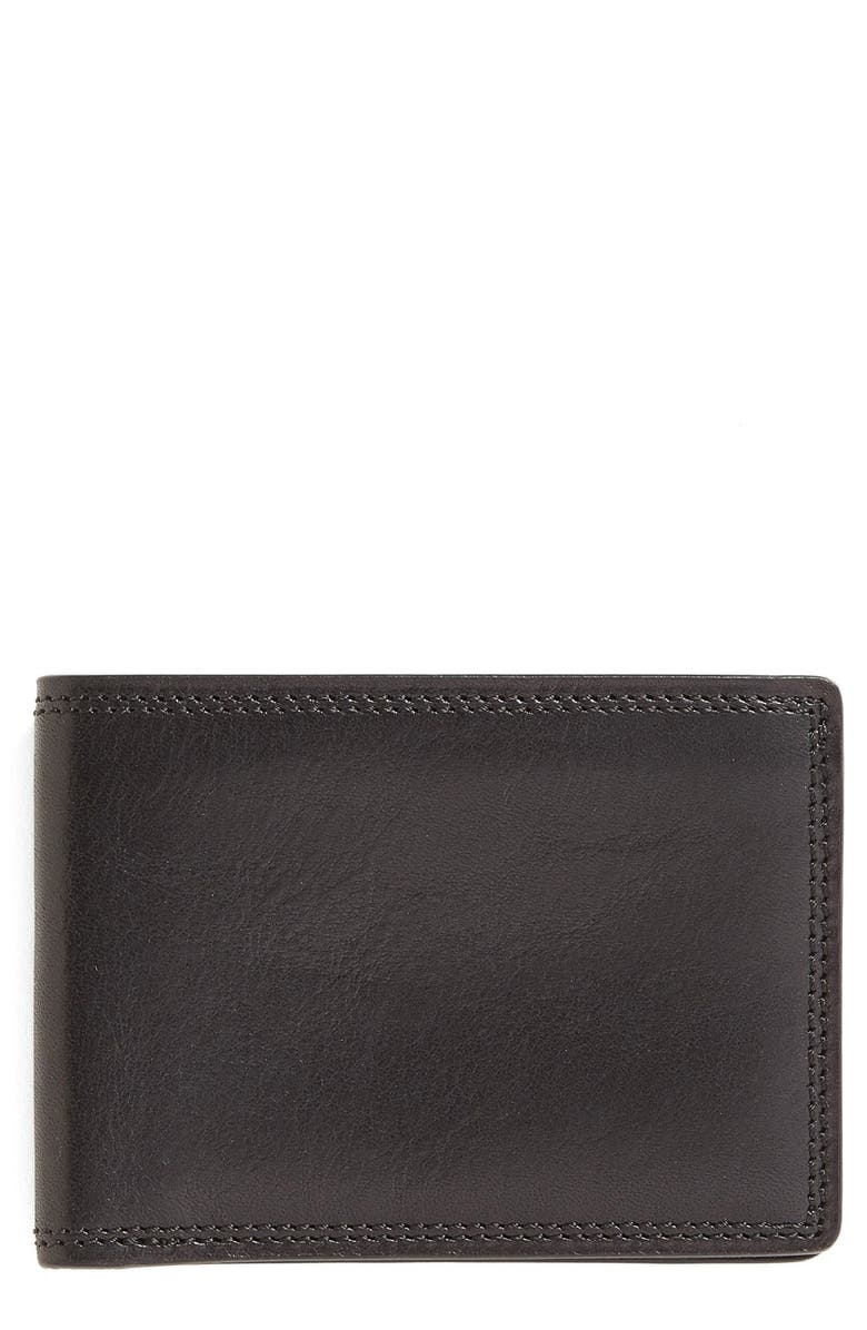 BOSCA Leather Bifold Wallet, Main, color, BLACK