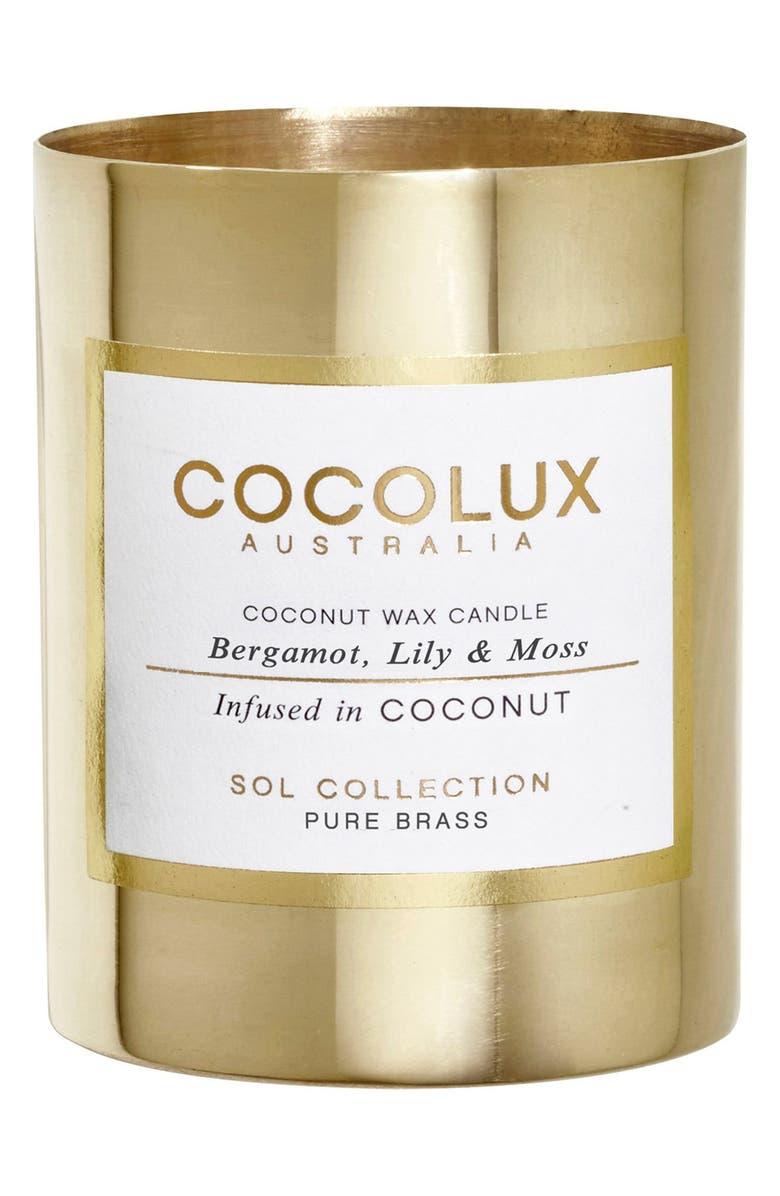 COCOLUX AUSTRALIA Bergamot, Lily & Moss Small Brass Candle, Main, color, NO COLOR