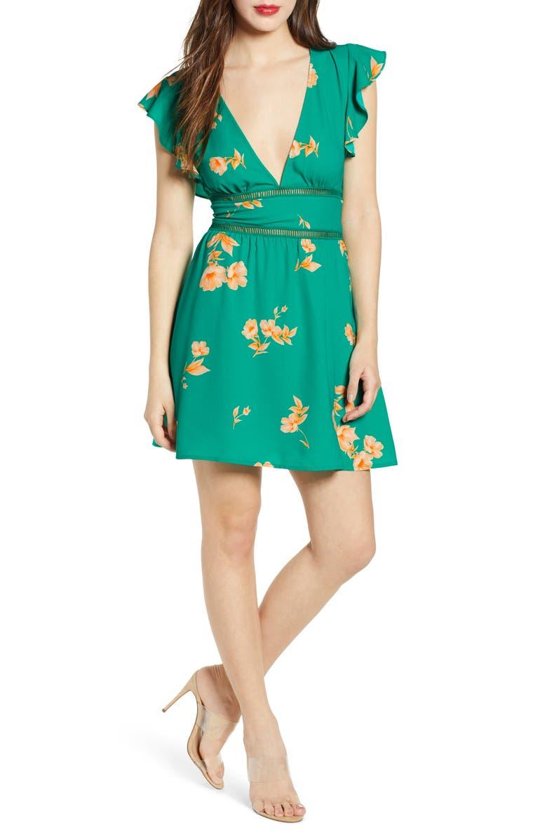 LEITH Lattice Trim Minidress, Main, color, GREEN PARAKEET POPPY FLORAL