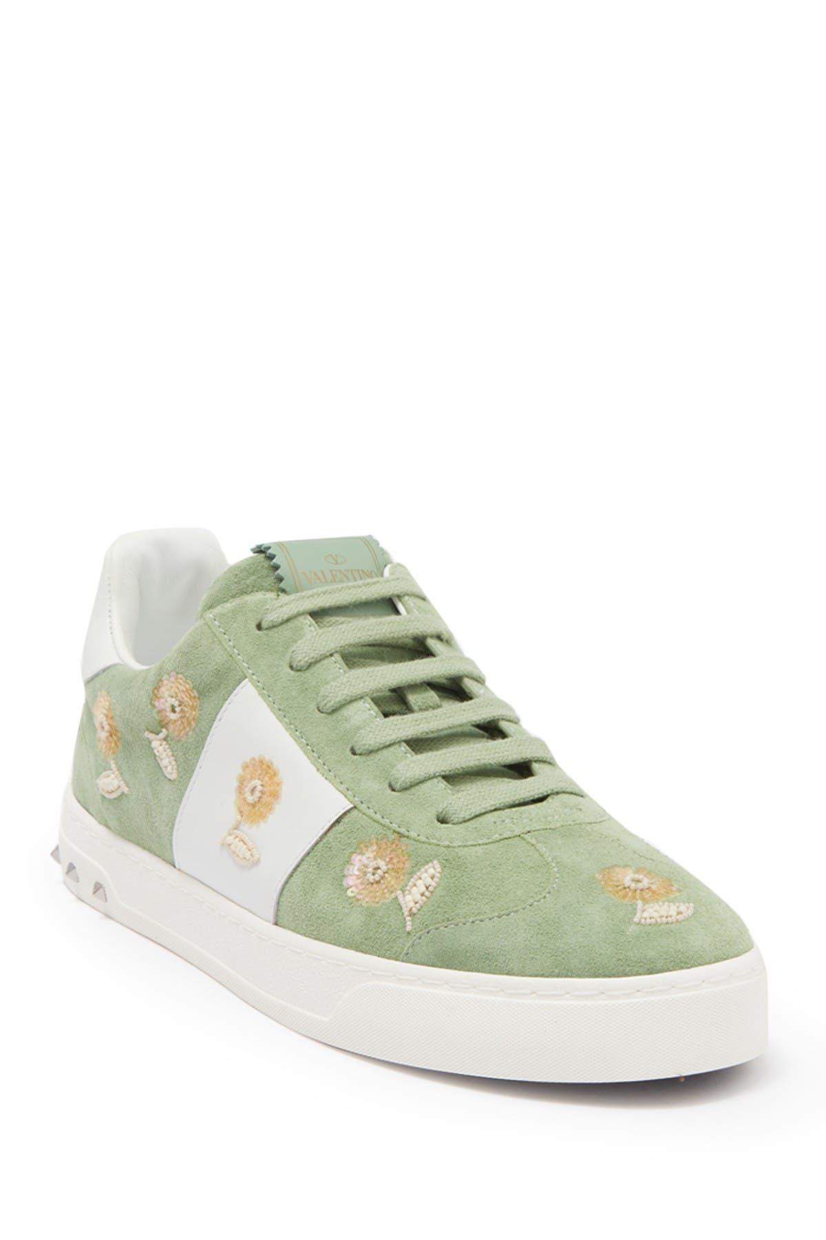 Image of Valentino Floral embellished Suede Sneaker