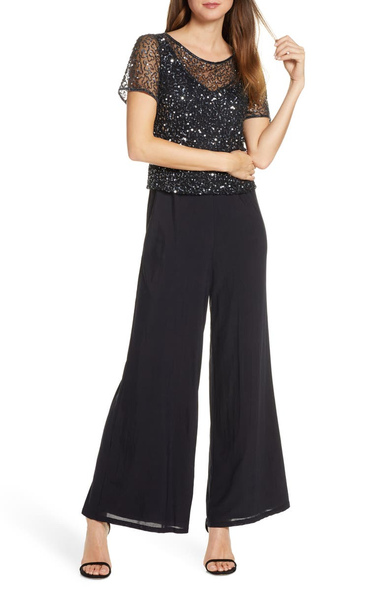 PISARRO NIGHTS Embellished Wide Leg Jumpsuit, Main, color, BLACK GUNMETAL