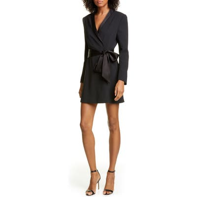 Alice + Olivia Mona Long Sleeve Suit Dress, Black