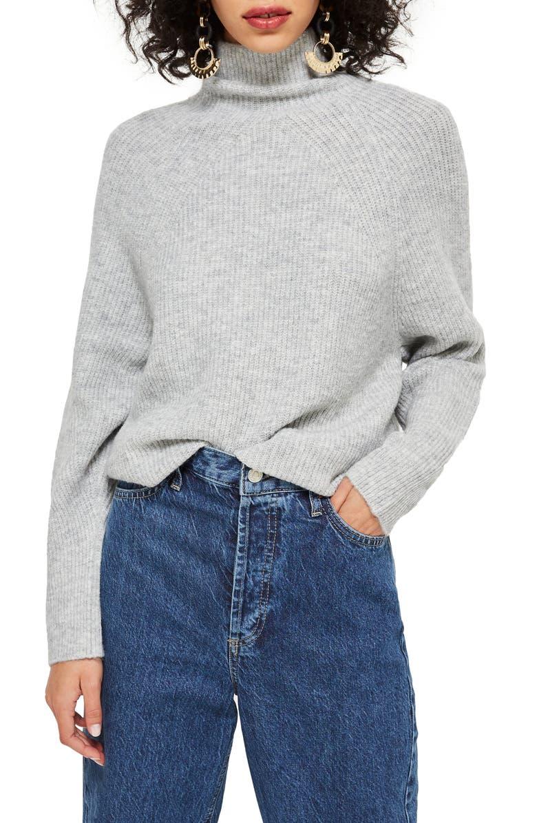 TOPSHOP Raglan Turtleneck Neck Sweater, Main, color, 020