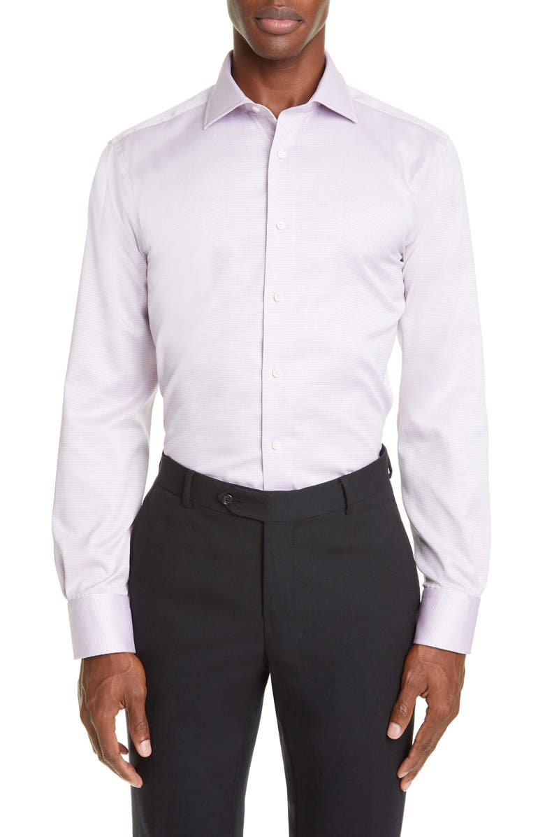 CANALI Regular Fit Stripe Dress Shirt, Main, color, PURPLE