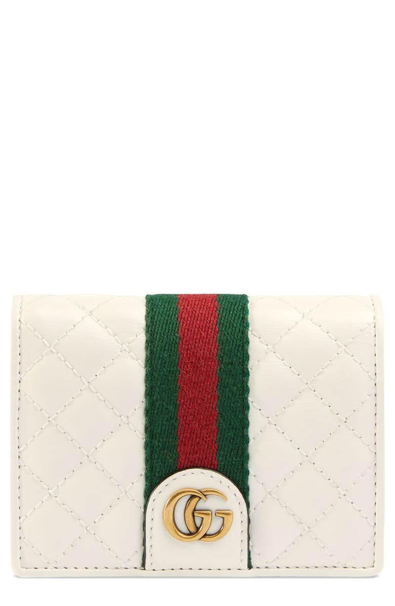 GUCCI Quilted Leather Card Case, Main, color, OFF WHITE/ VERT/ RED