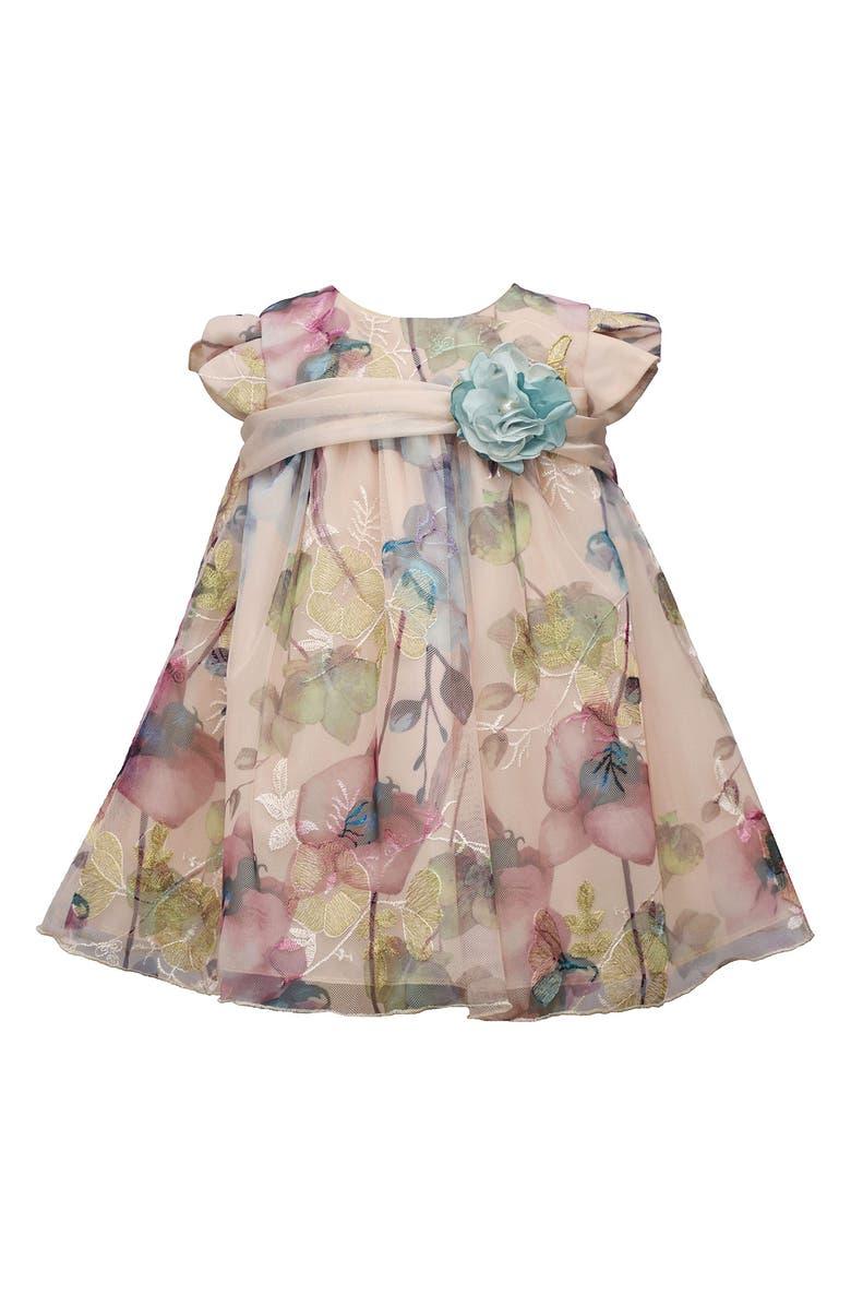 BONNIE JEAN Burnout Lace Floral Print Applique Dress, Main, color, MULTI