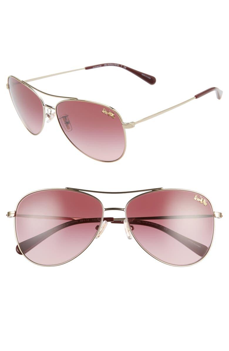 COACH 58mm Aviator Sunglasses, Main, color, GOLD/ BURGUNDY GRADIENT