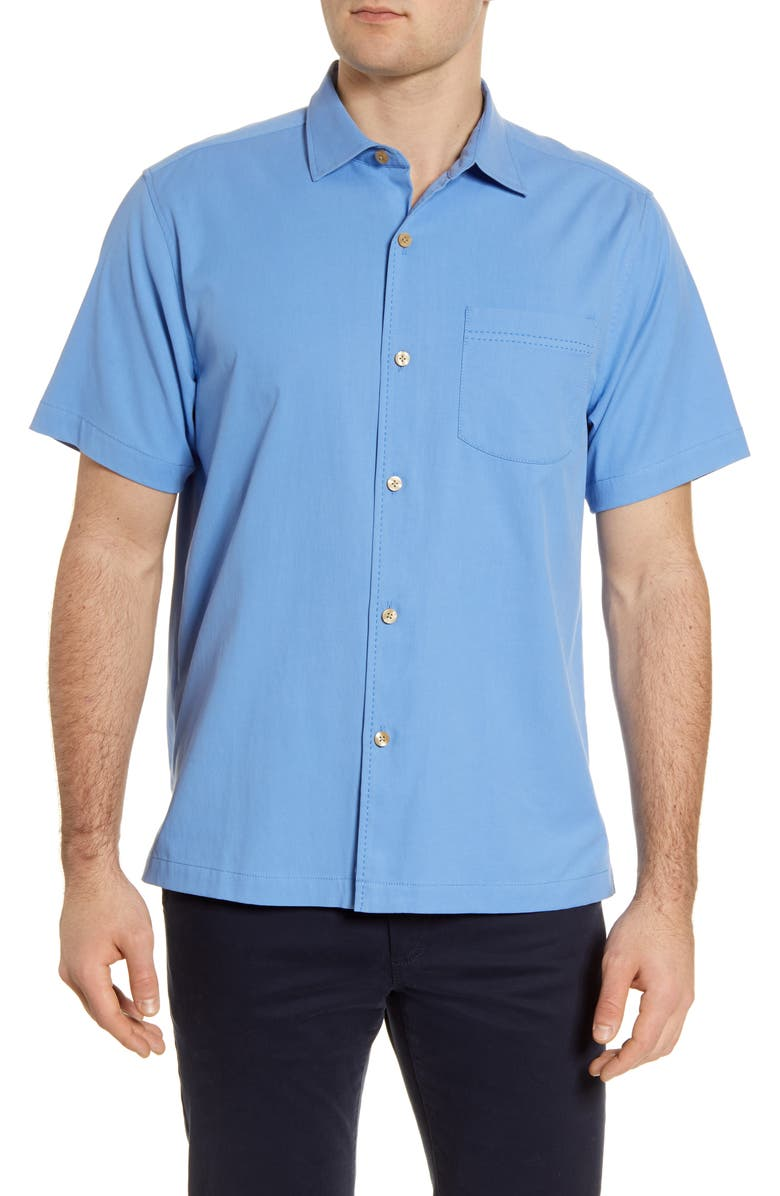 TOMMY BAHAMA Catalina Silk Blend Shirt, Main, color, NEW BLUE OPAL