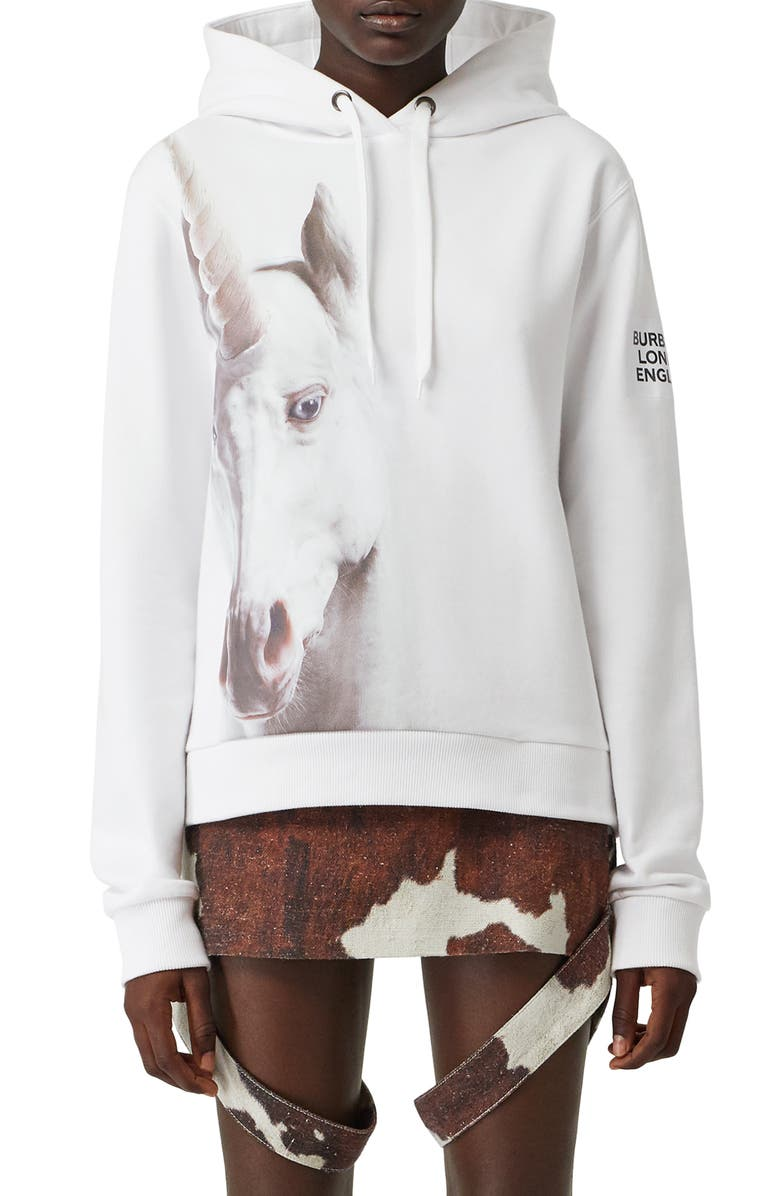 BURBERRY Poulter Unicorn Print Cotton Hoodie, Main, color, WHITE
