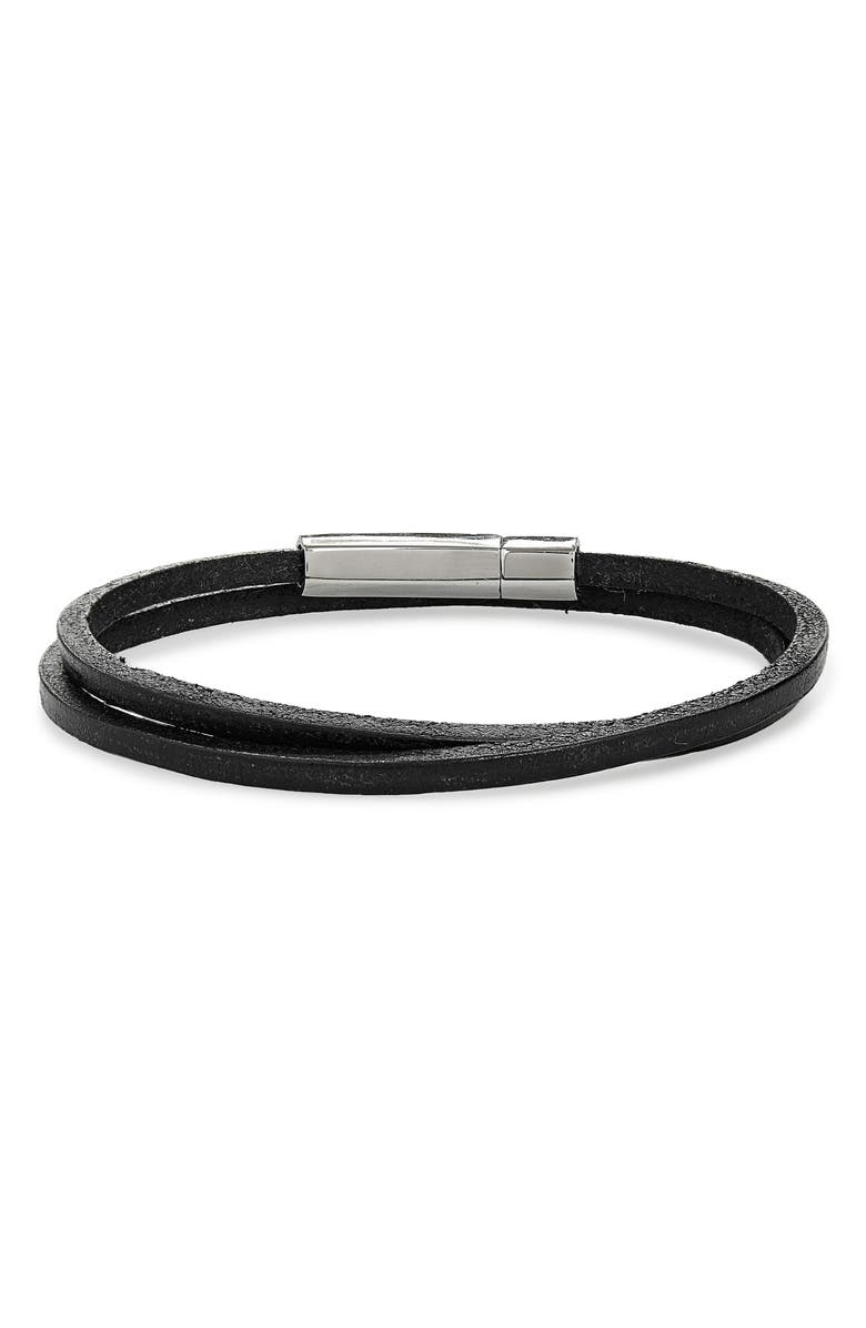 JONAS STUDIO Leather Wrap Bracelet, Main, color, BLACK
