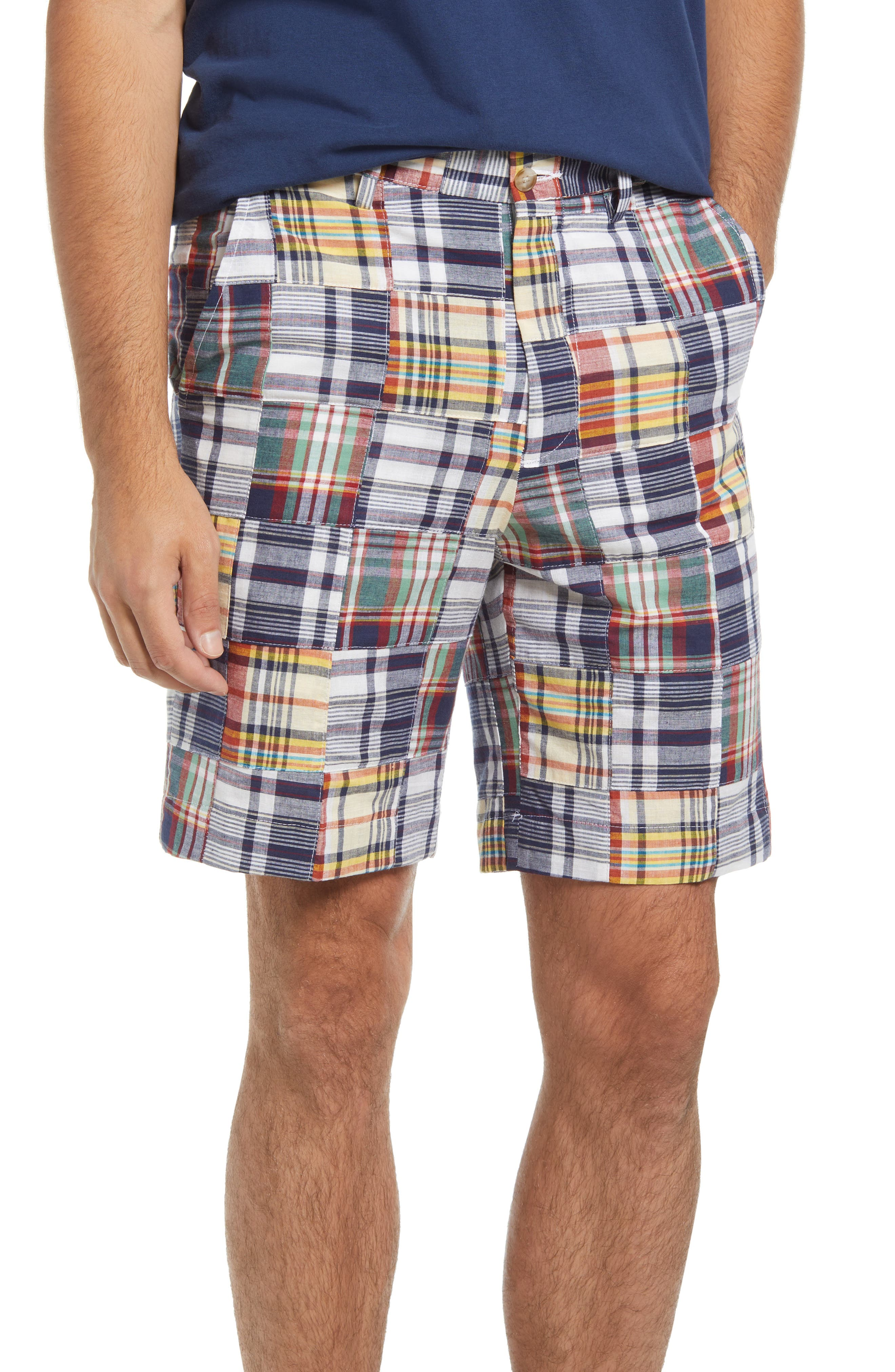 Patchwork Madras Flat Front Shorts