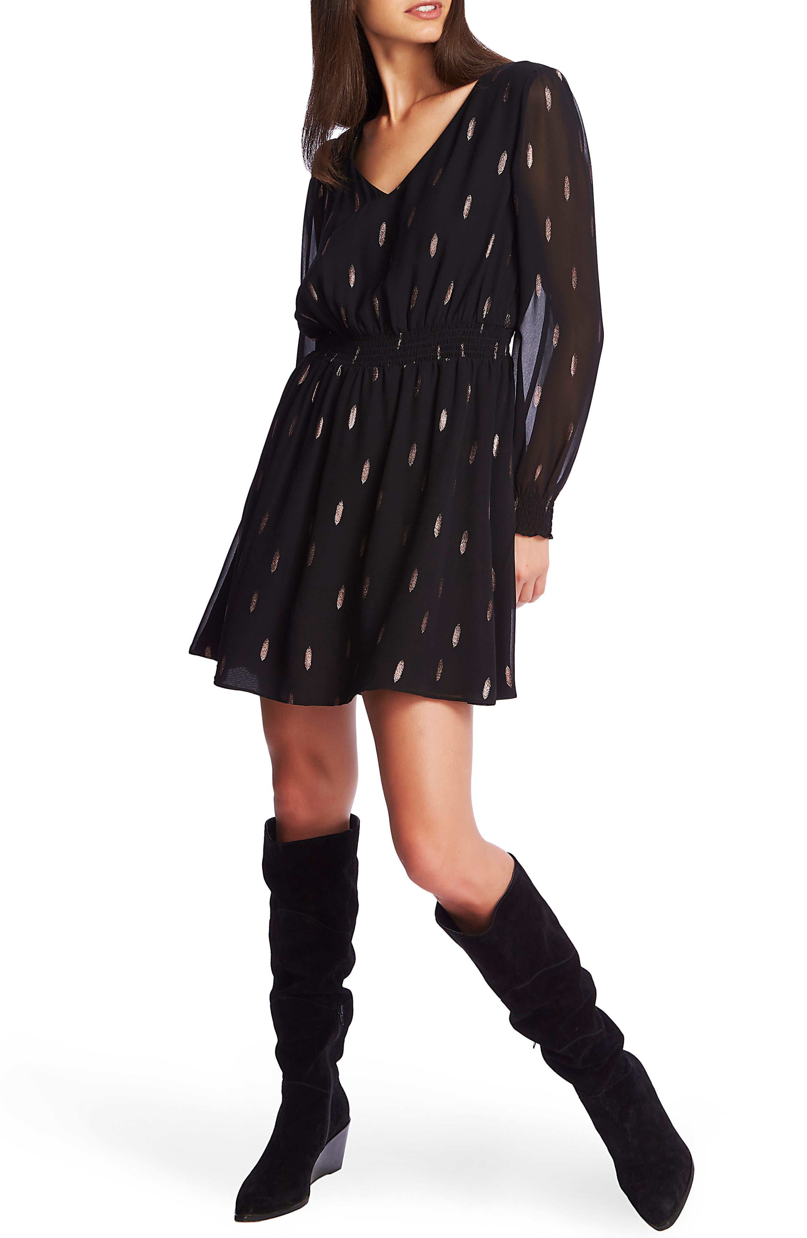 1.STATE Foil Print Long Sleeve Chiffon Dress