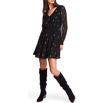 1.state Foil Print Long Sleeve Chiffon Dress, Black