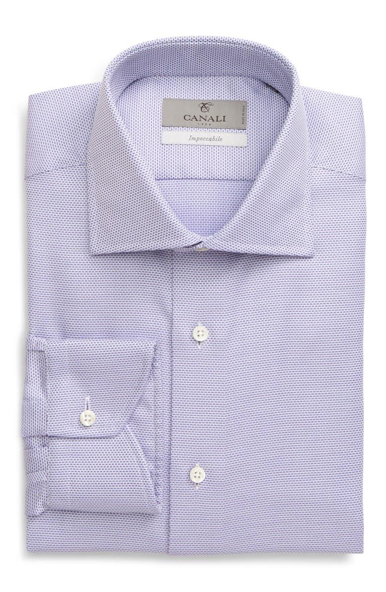 CANALI Regular Fit Geo Non-Iron Dress Shirt, Main, color, PURPLE