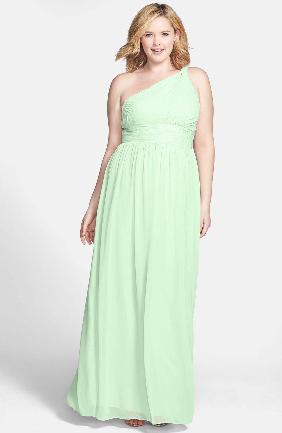 ,                             'Rachel' Ruched One-Shoulder Chiffon Gown,                             Alternate thumbnail 59, color,                             352