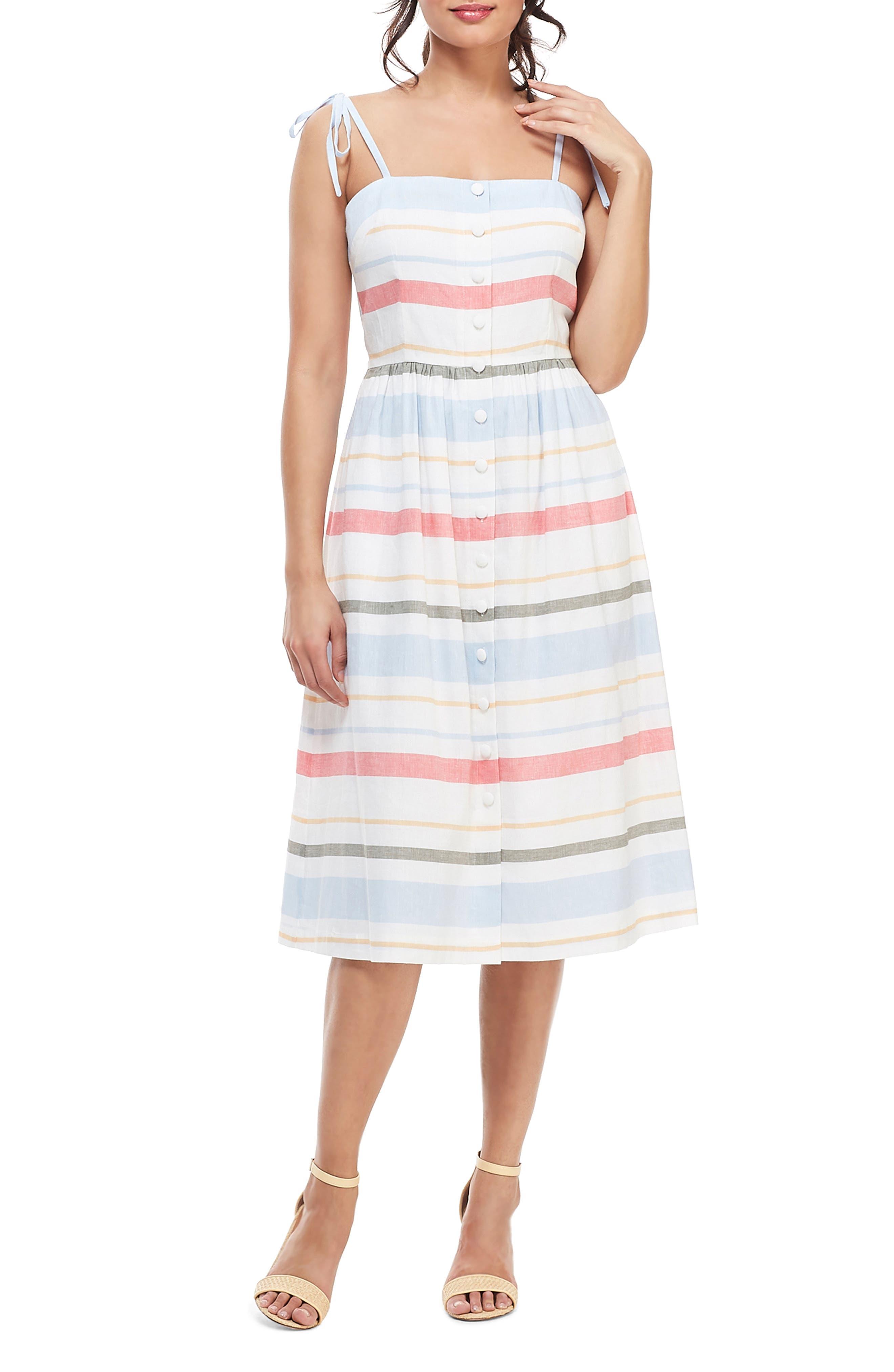 1960s Dresses | 60s Dresses Mod, Mini, Jackie O, Hippie Womens Gal Meets Glam Collection Hattie Stripe Linen Blend Sundress $178.00 AT vintagedancer.com
