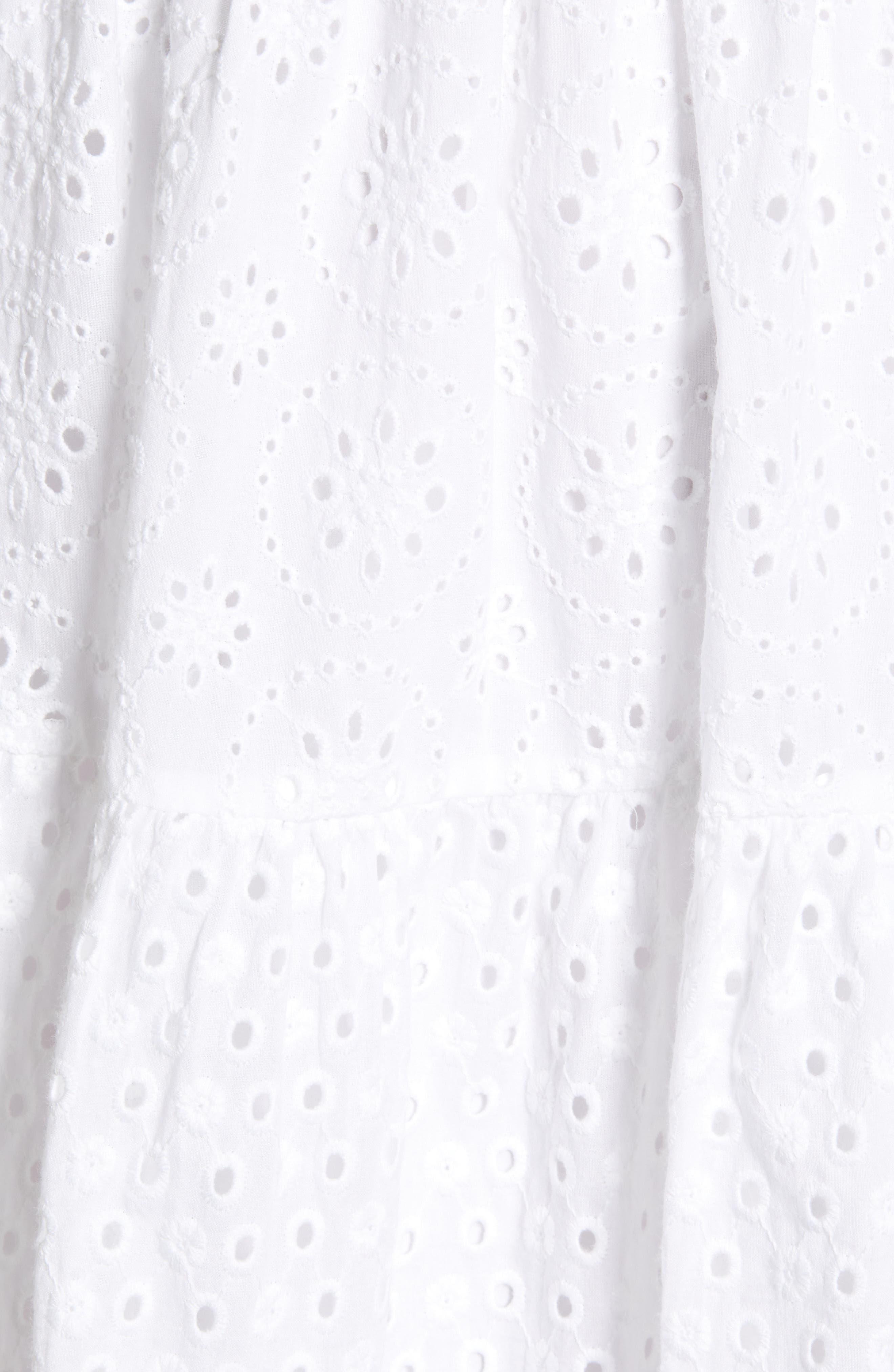 ,                             Mixed Eyelet A-Line Dress,                             Alternate thumbnail 6, color,                             WHITE