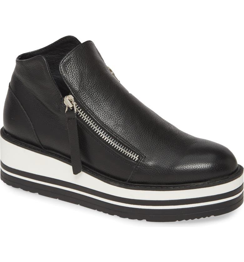 SILENT D Somy Sneaker, Main, color, BLACK LEATHER