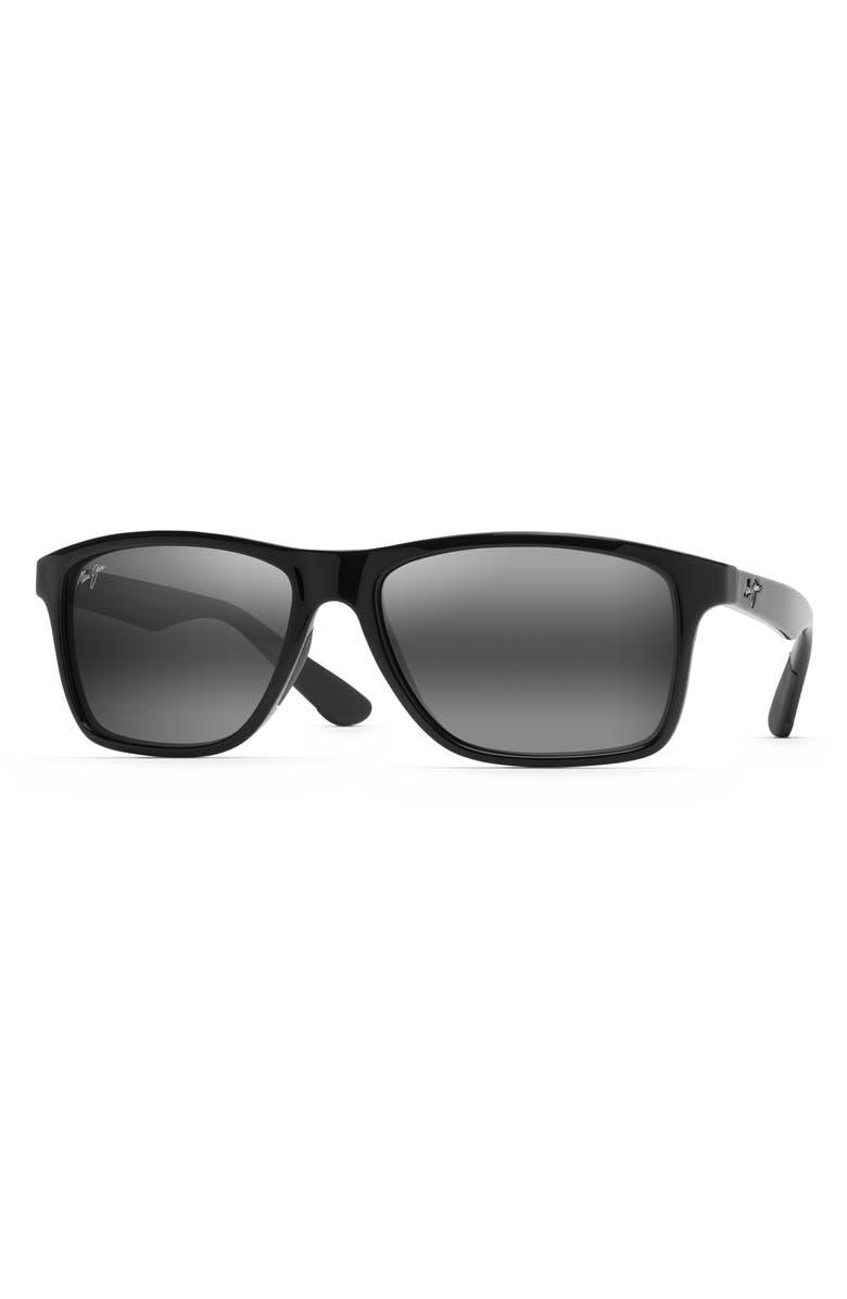 MAUI JIM Onshore 58mm Polarized Sunglasses, Main, color, GLOSS BLACK