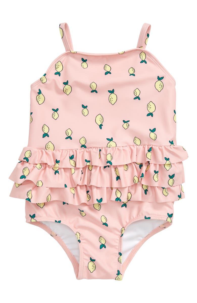 TUCKER + TATE Lemon Ruffle One-Piece Swimsuit, Main, color, PINK POWDER LEMONS