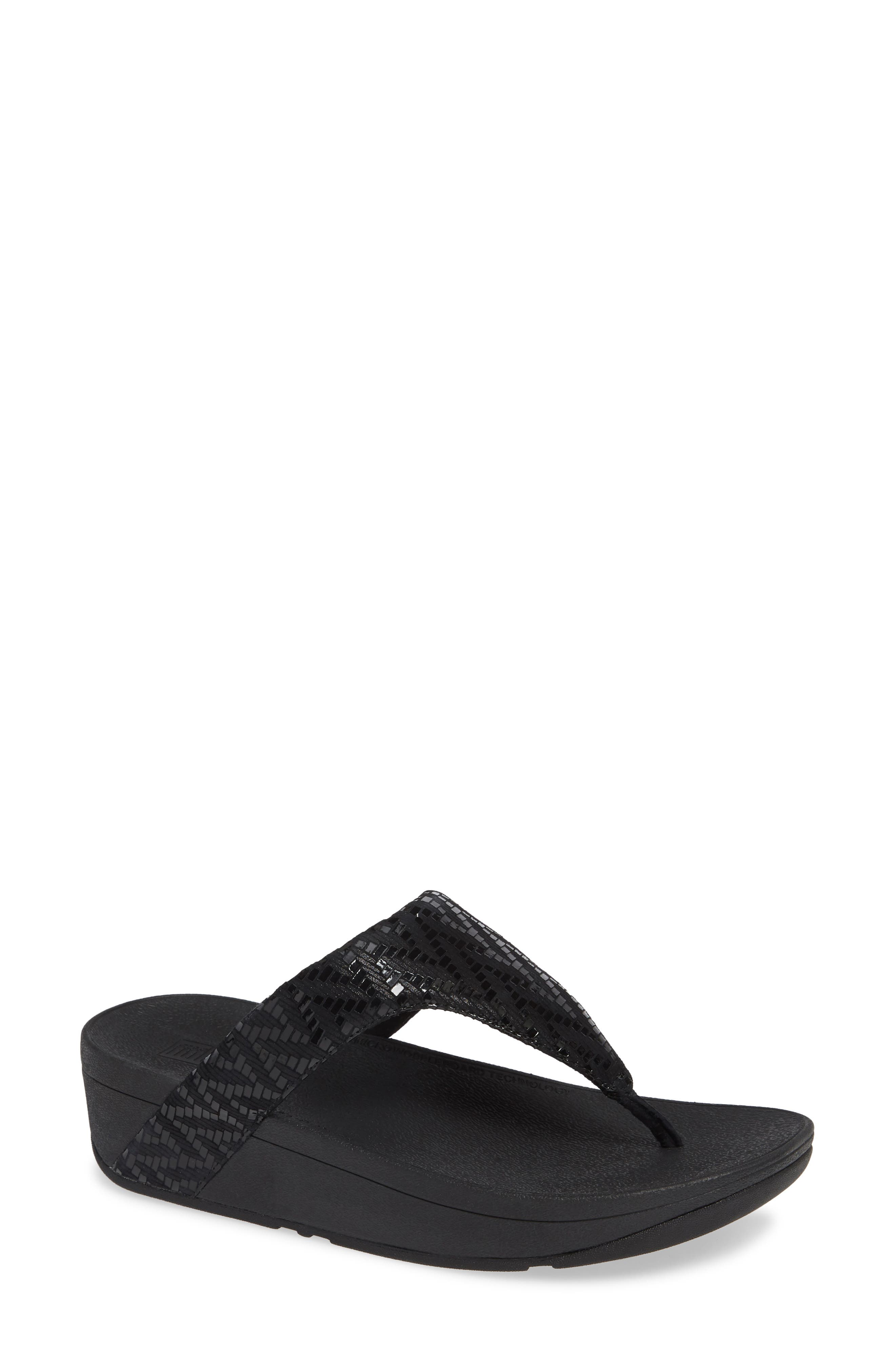 Lottie Chevron Wedge Flip Flop, Main, color, BLACK