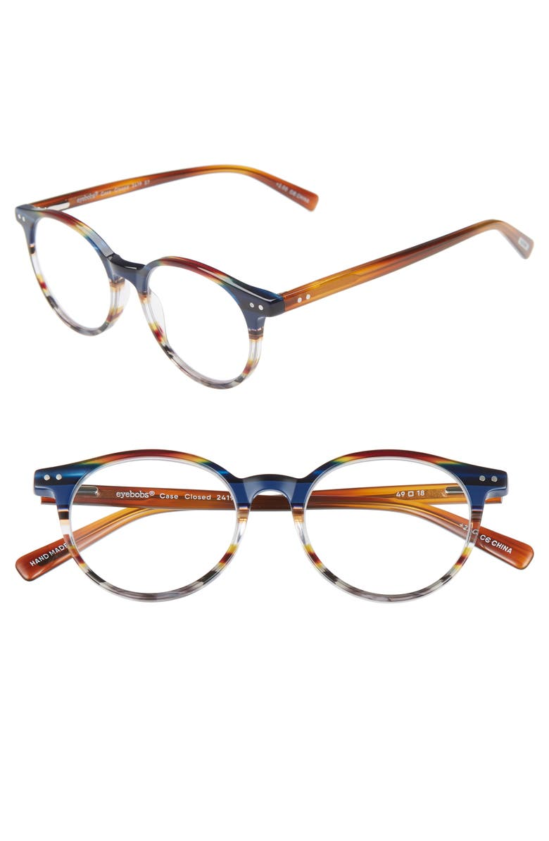 EYEBOBS Case Closed 49mm Round Reading Glasses, Main, color, BLUE/BROWN