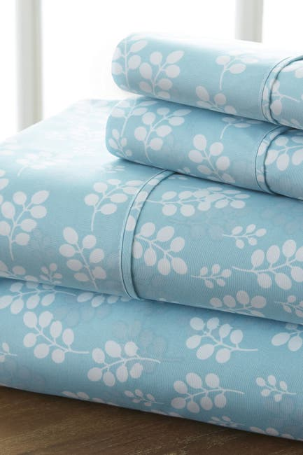 Image of IENJOY HOME Home Spun Premium Ultra Soft Wheat Pattern 4-Piece California King Bed Sheet Set - Pale Blue