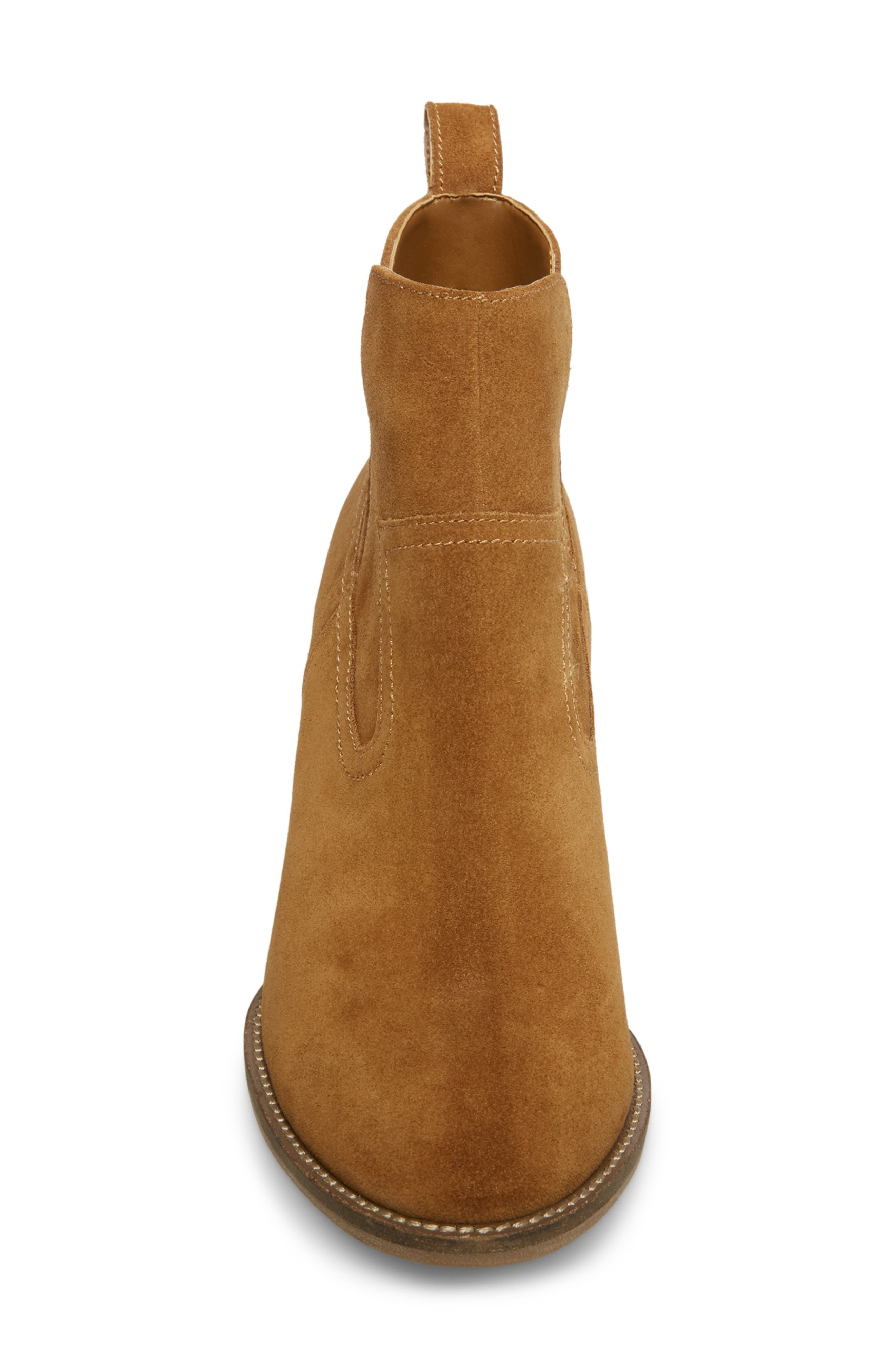 ,                             Irving Waterproof Wedge Bootie,                             Alternate thumbnail 4, color,                             CAMEL SUEDE
