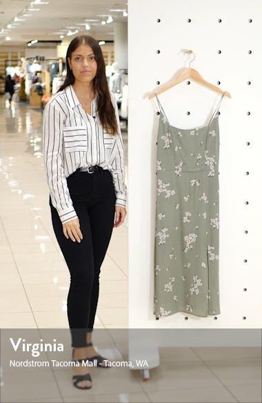 Retro Floral Print Side Slit Midi Sundress, sales video thumbnail