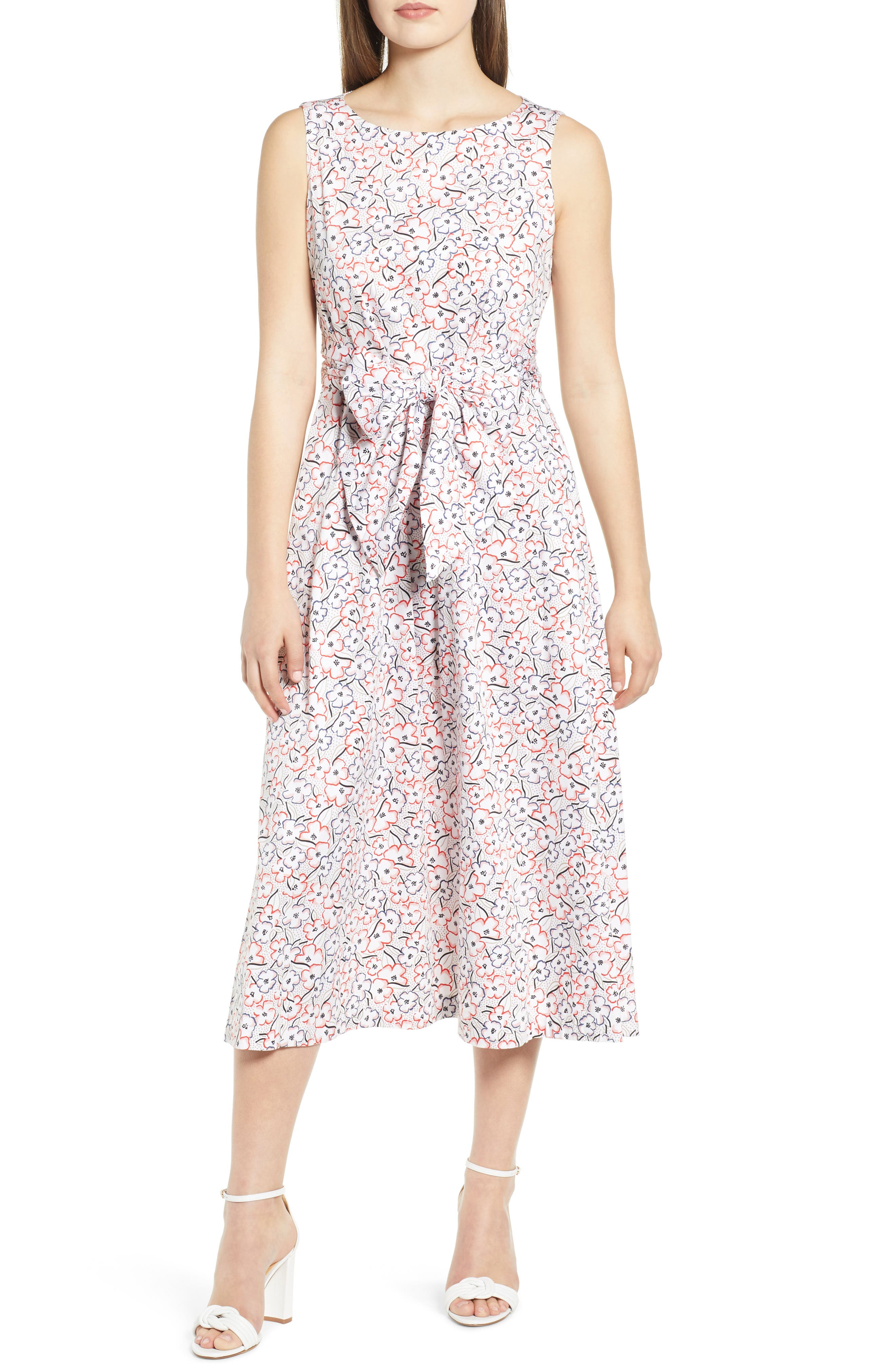Anne Klein Floral Tie Front Stretch Cotton Midi Dress, White