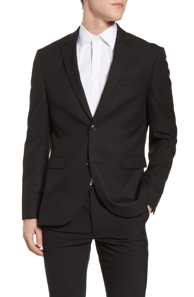 TOPMAN Skinny Fit Textured Suit Jacket, Main, color, BLACK