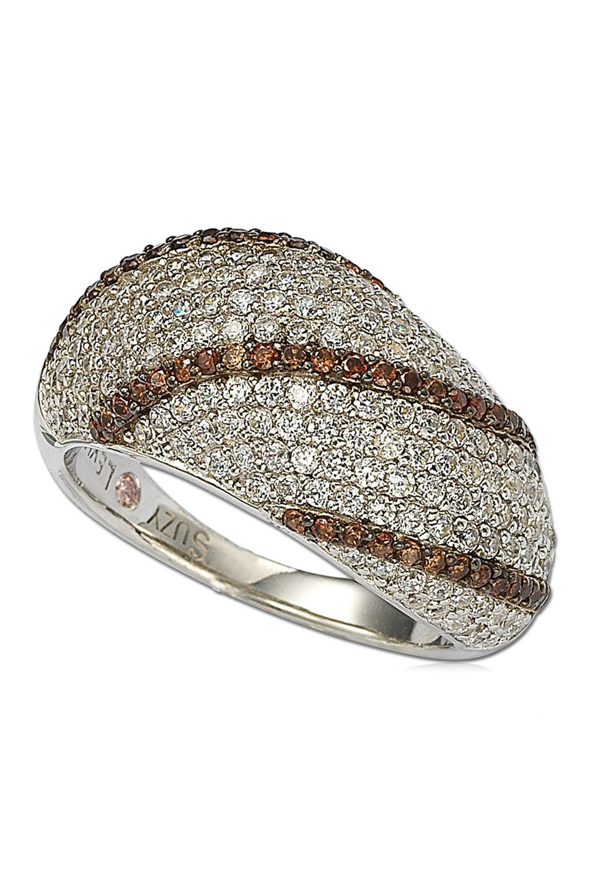 Image of Suzy Levian Sterling Silver Pave White & Chocolate CZ Ring