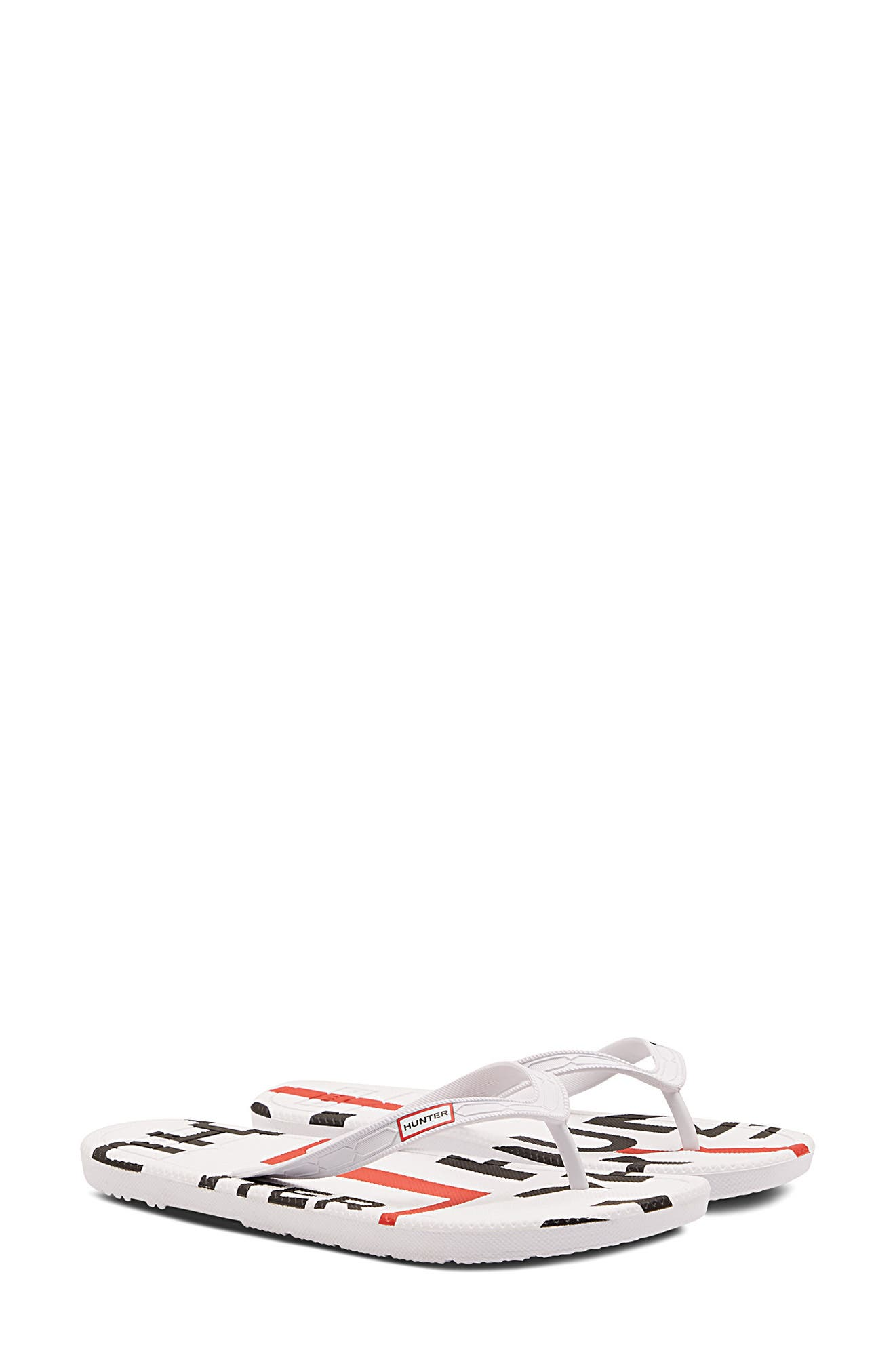 Hunter Exploded Logo Flip Flop, White