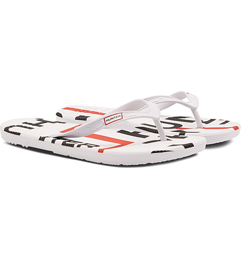 HUNTER Exploded Logo Flip Flop, Main, color, HUNTER WHITE