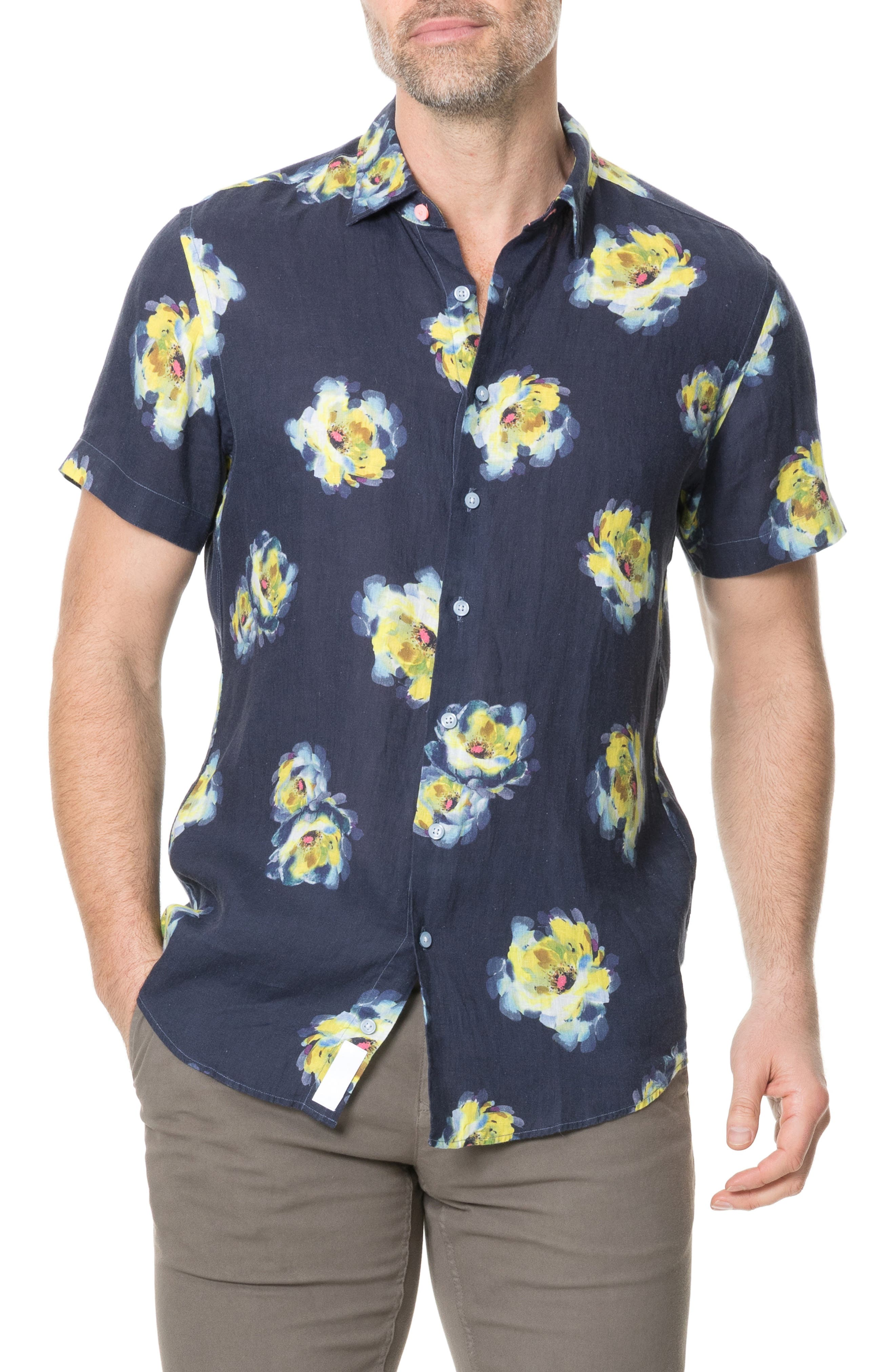 Image of RODD AND GUNN Hopelands Regular Fit Floral Short Sleeve Linen Button-Up Shirt