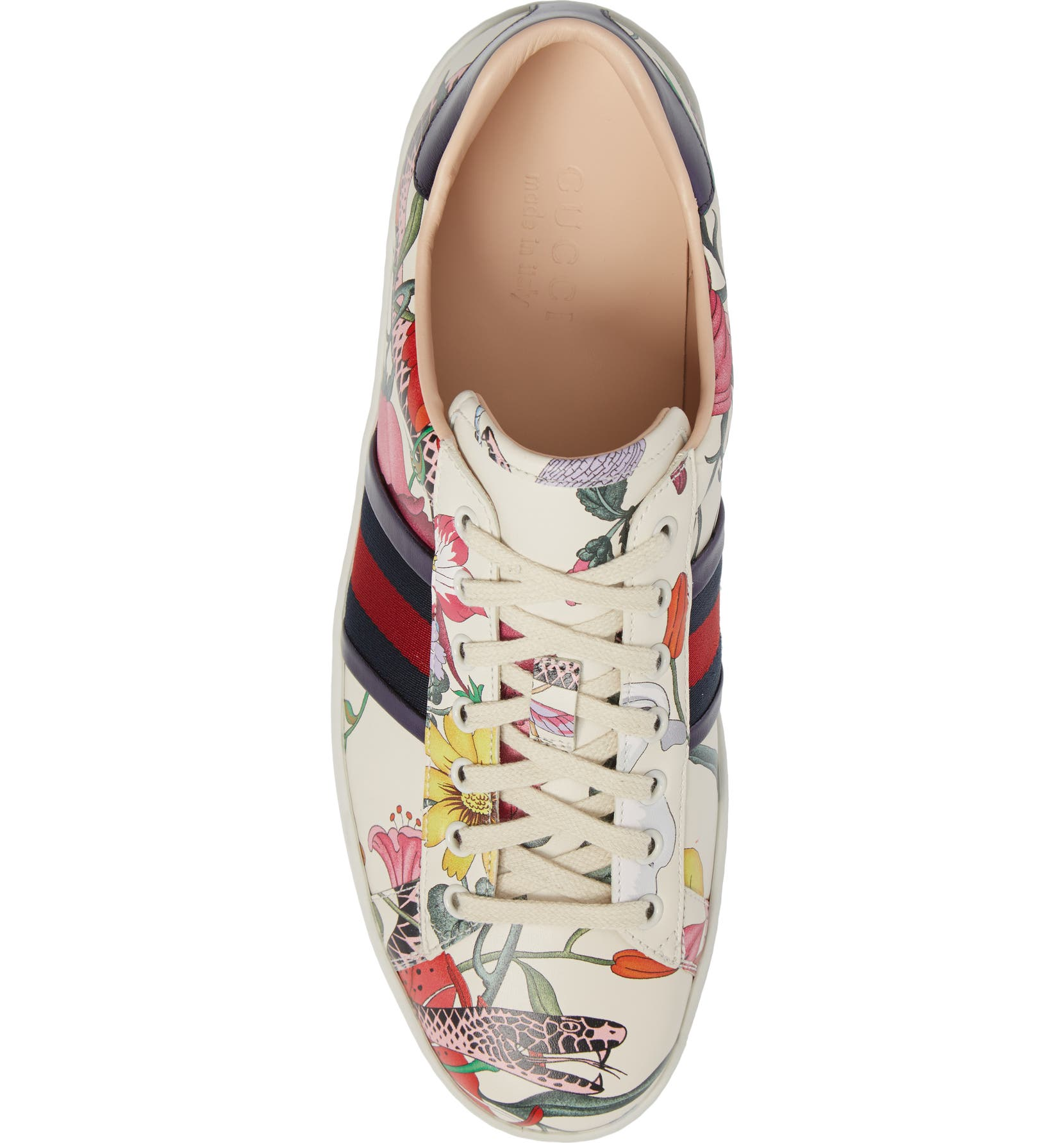 bf8338f19 Gucci New Ace Flora Snake Sneaker (Men) | Nordstrom
