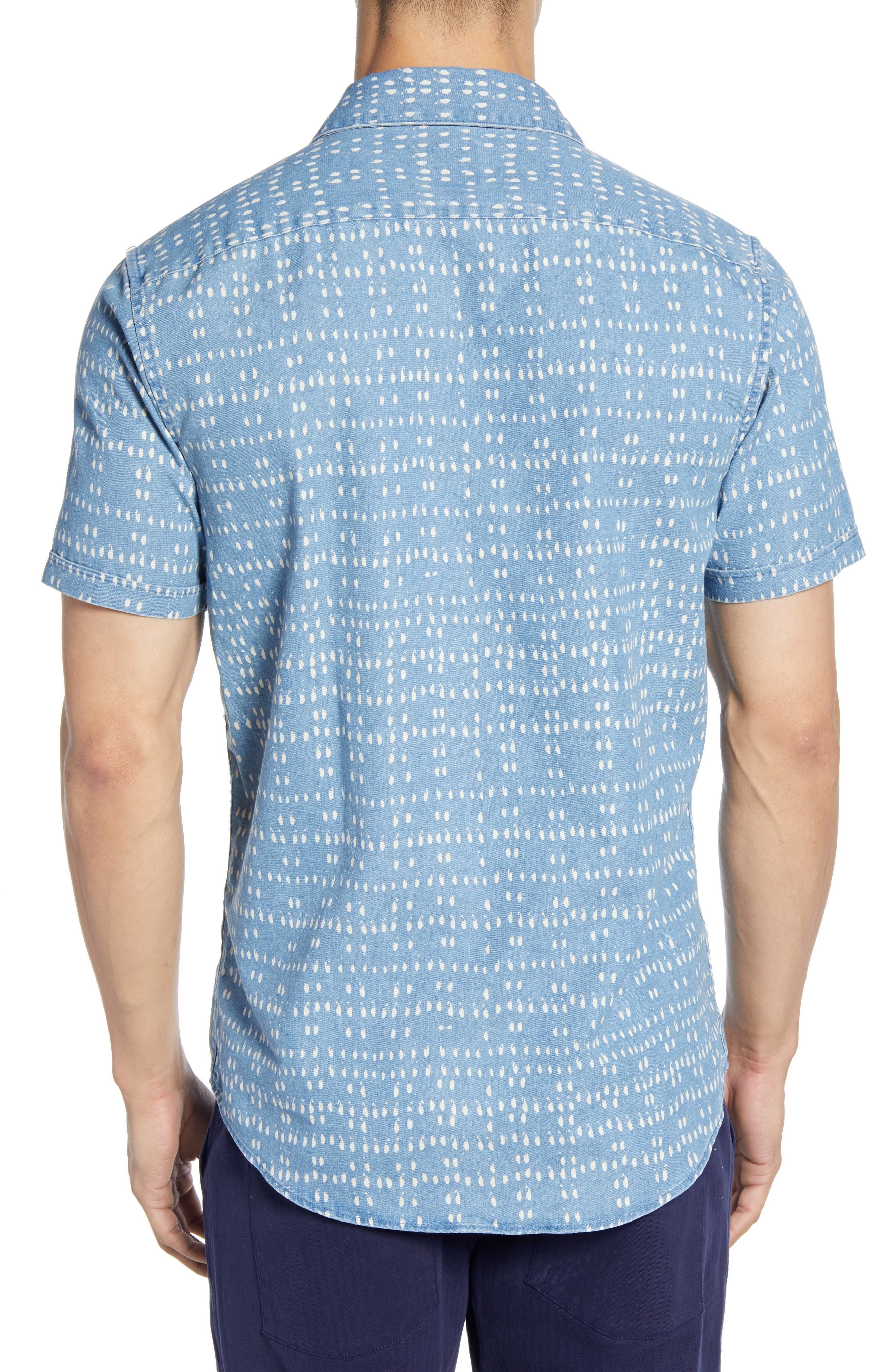 ,                             Nakama Dot Slim Fit Woven Shirt,                             Alternate thumbnail 3, color,                             DENIM