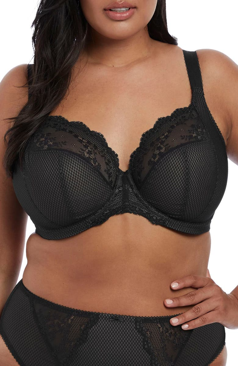 ELOMI Charley Underwire Convertible Plunge Bra, Main, color, BLACK