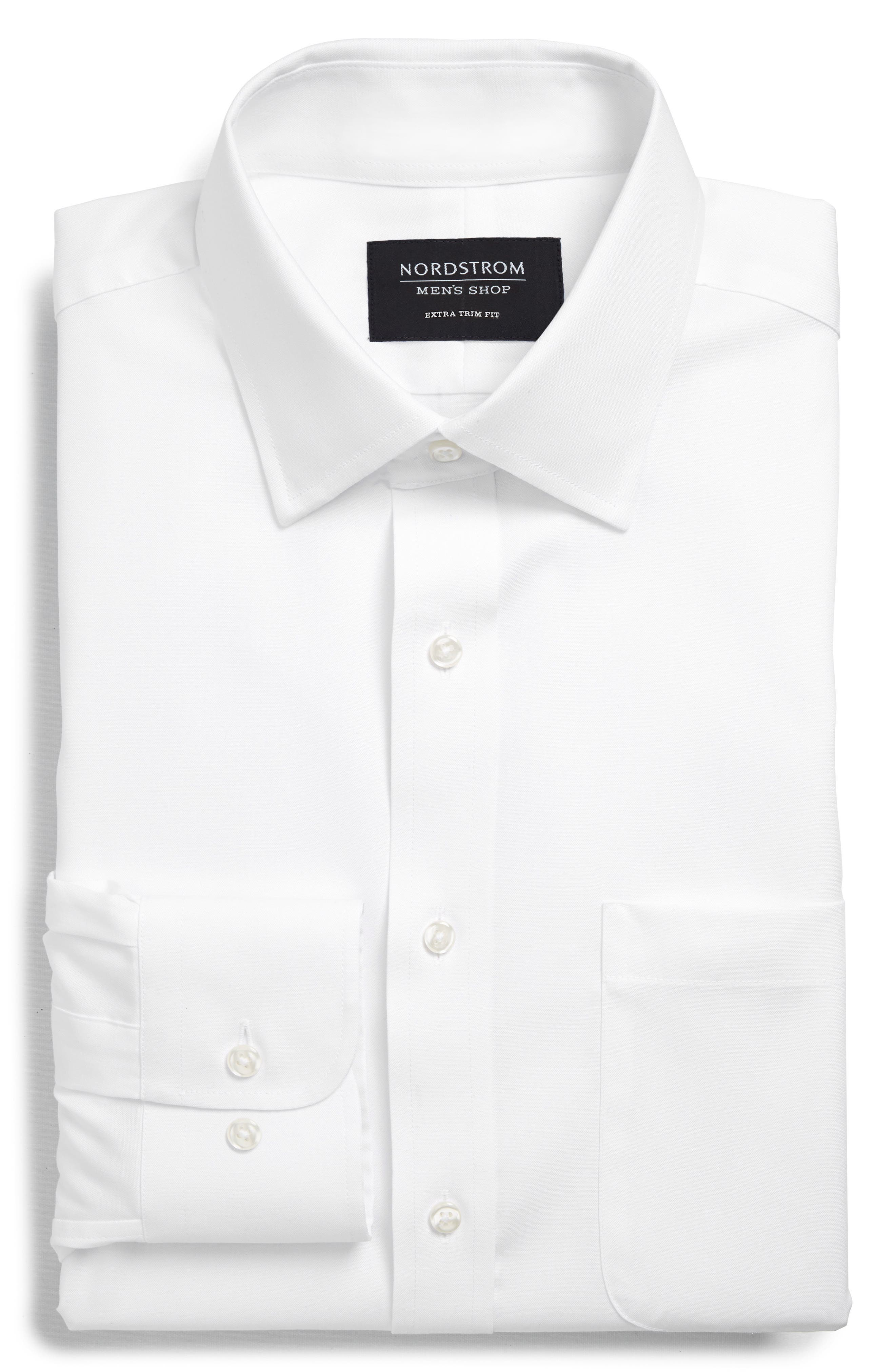 ,                             Extra Trim Fit Non-Iron Solid Dress Shirt,                             Alternate thumbnail 53, color,                             100