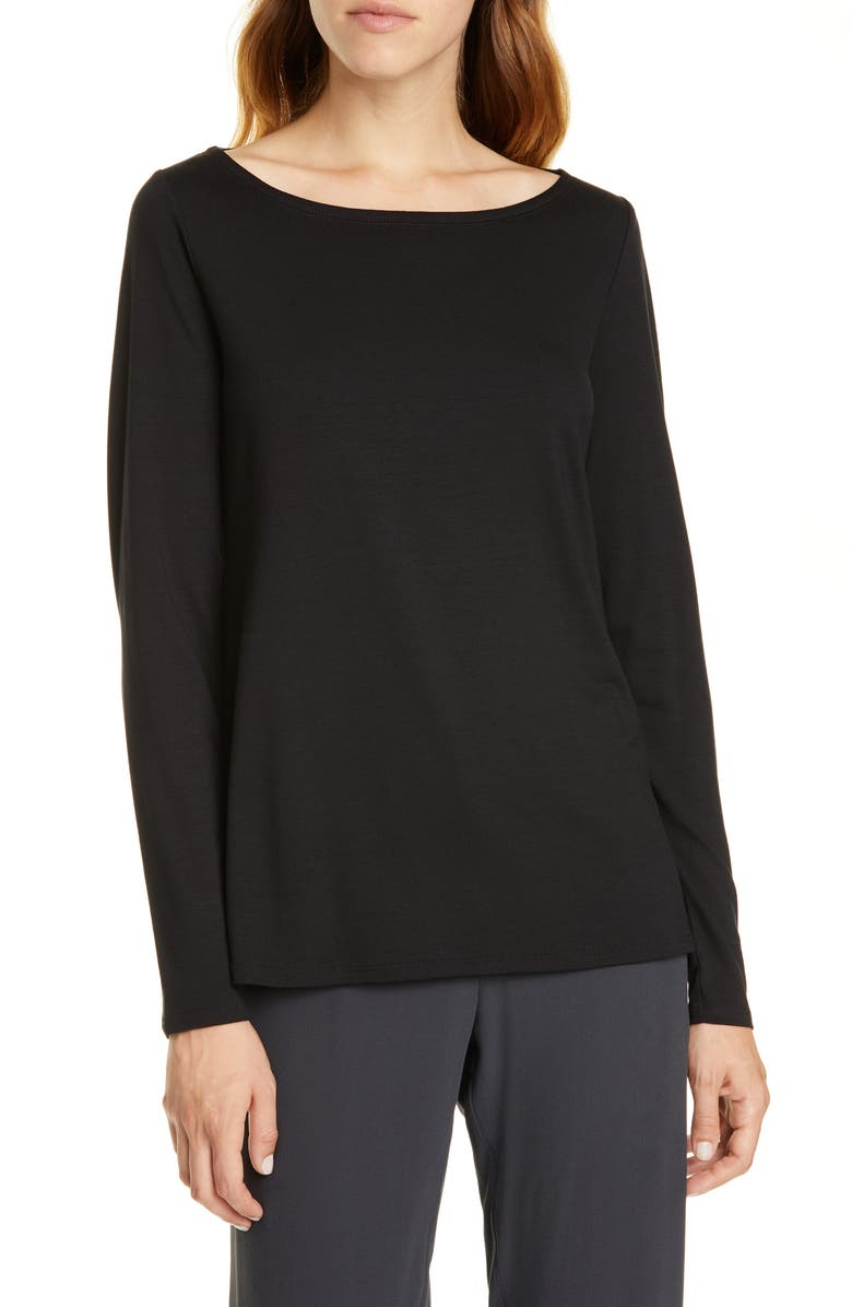 Bateau Neck Slim Tencel® Lyocell Top by Eileen Fisher