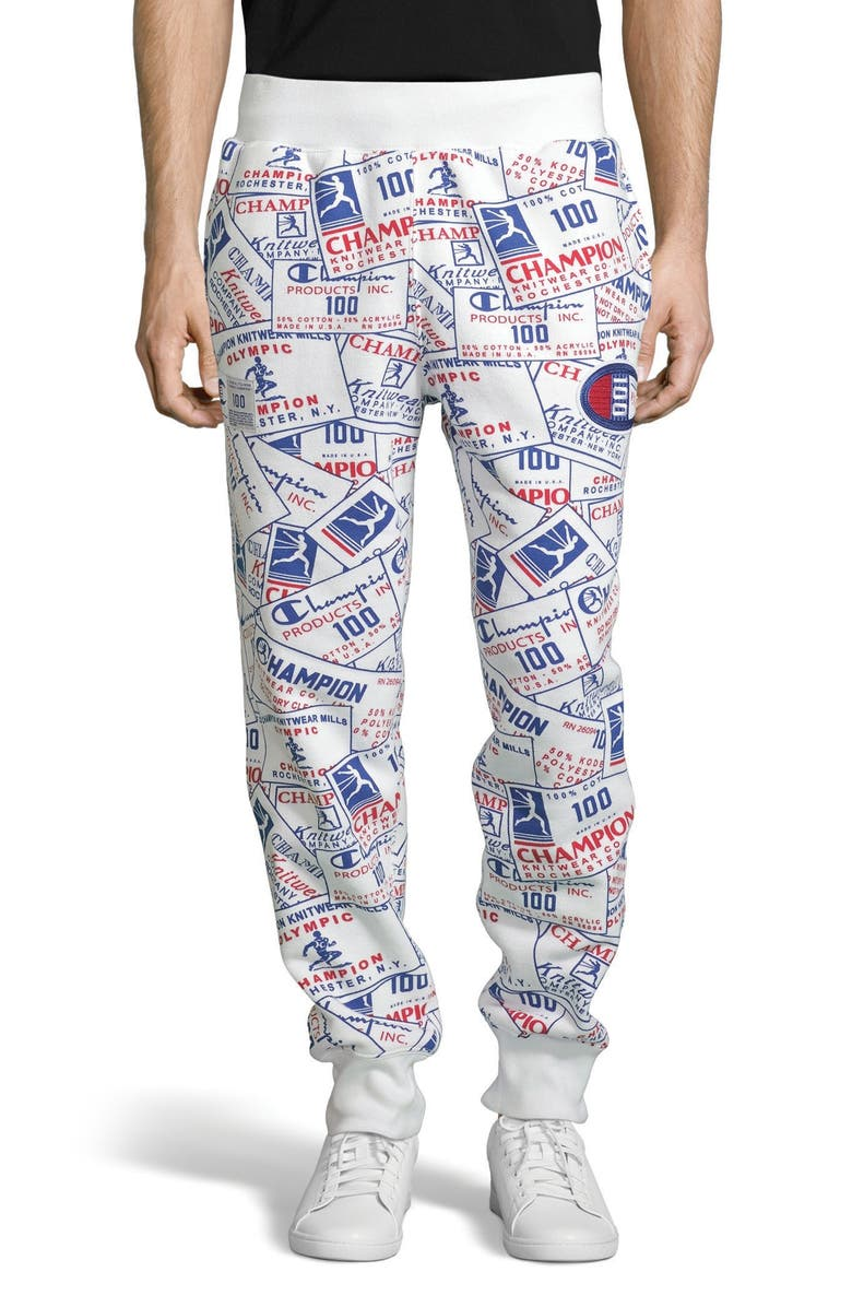 CHAMPION Century Collection Tag Sweatpants, Main, color, SCATTER WHITE