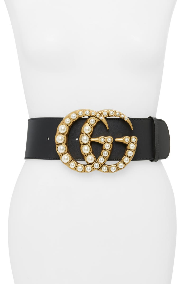 GUCCI Imitation Pearl Logo Buckle Leather Belt, Main, color, 9094 NERO/ CREAM