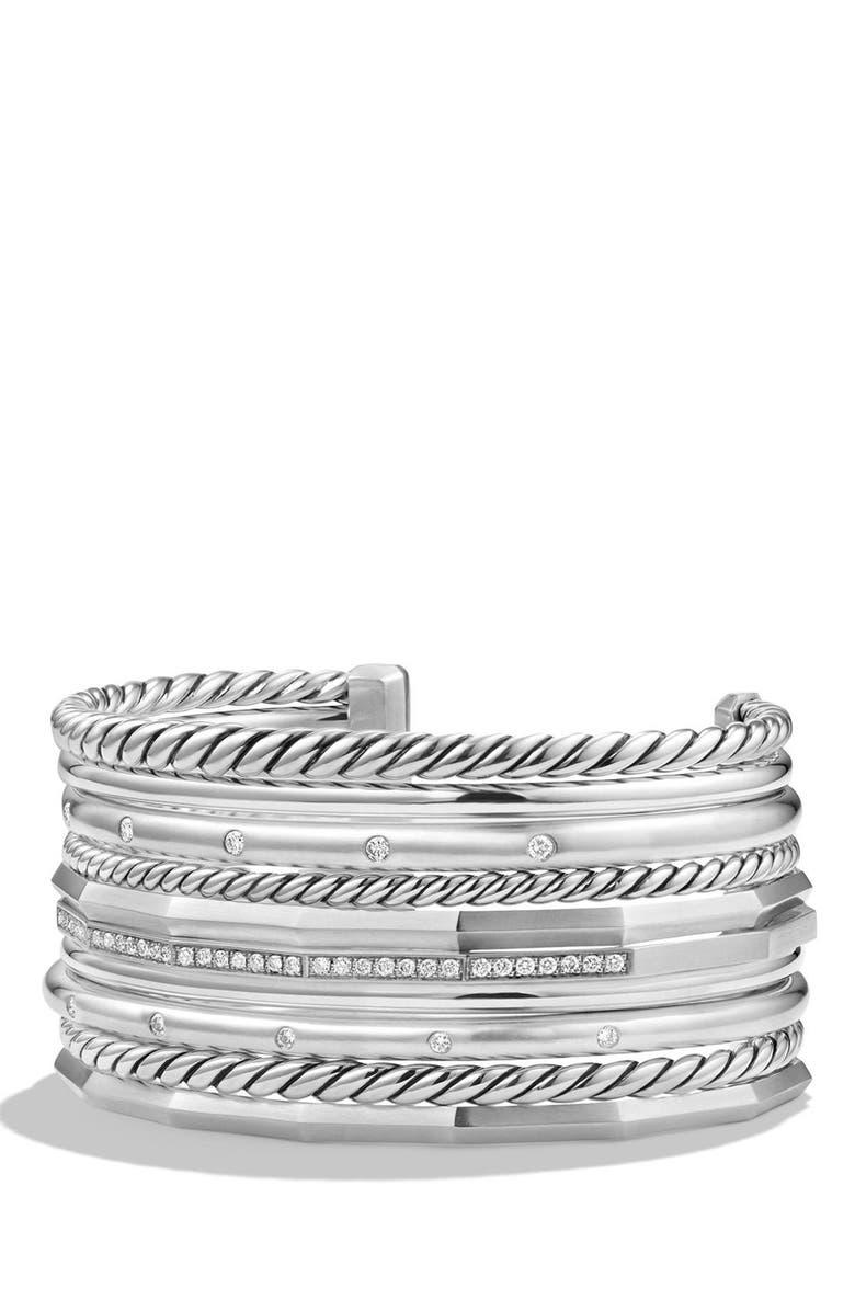 DAVID YURMAN 'Stax' Wide Cuff Bracelet with Diamonds, Main, color, SILVER