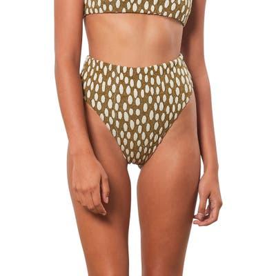 Mara Hoffman Imina High Waist Bikini Bottoms, Brown