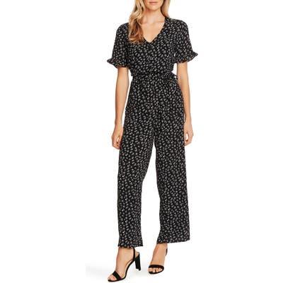 Cece Ditsy Floral Belted Jumpsuit, Black