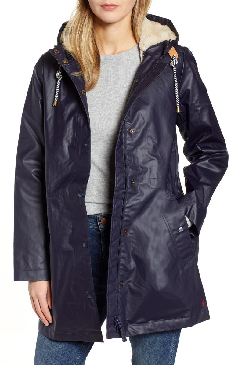 JOULES Rain Away Hooded Raincoat, Main, color, MARINE NAVY